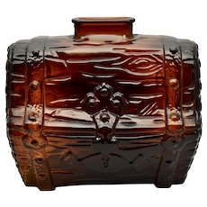 c1950s Anchor Hocking Dark Amber Brown Glass Pirate's Treasure Chest Coin Bank