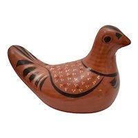 c1970s Mexican Folk Art Handcrafted Tonala Bird Clay Pottery Figurine Sculpture