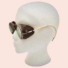 Round Green Glass & Leather Chemist Steampunk Eye Goggles - Rare Find!