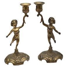 Pair of Hollywood Regency Putti Pot Metal Cherub Figural Candle Holders