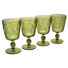 Mid-Century Set of 4 Thumbprint Style Avocado Green Glass Wine / Water Stemware Glassware - 2 Sets Available