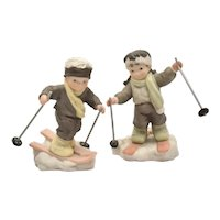 """Pair of Enesco Bahner Studios """"You're My Winter's Joy"""" & """"I'm On My Way To You"""" Boy & Girl Skier Figurines"""