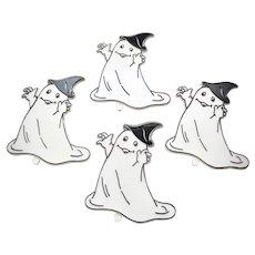 Mid-Century Set of 4 Large Halloween Ghost Hard Plastic Cupcake / Cake Topper Decoration