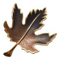 Large Brown Ombre Enamel Leaf Figural Gold Tone Brooch / Pin