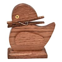 Quirky Handcrafted Wood Duck Figural Clothespin Bill / Recipe / Note Decorative Holder