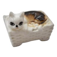 Small Mid-Century White & Brown Porcelain Cat in a Basket Figurine - Great for Dollhouse!