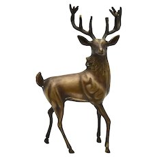Sylvestri Large Handcrafted Solid Brass Stag / Buck Deer Rustic Figurine Statue