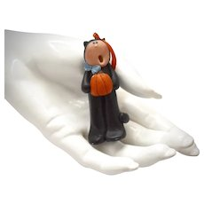 Patti's Halloween Devil w/ Pumpkin Large Handcrafted Clay Art Pendant or Accessory