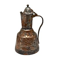 Solid Copper & TIn Handcrafted Floral Motif Pitcher w/ Hinged Lid & Brass Handle