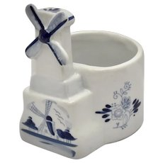 Delft Holland Blue & White Hand Painted Windmill Ceramic Planter