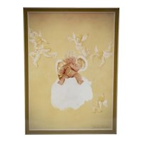 """c1995 Sealed/New Old Stock Anne Geddes """"Cherub Baby"""" 8 x 10"""" Art Lithograph Print in Mat"""