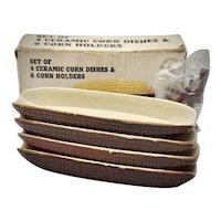 Never Used Set of 4 Ceramic Corn Servers & 4 Pairs of Corn Holders in Original Box
