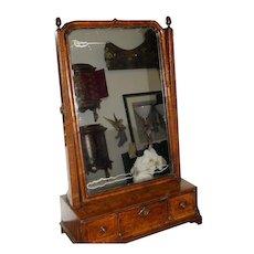 Unusual Antique Biedermeier Burl Walnut Table Mirror - Red Tag Sale Item