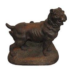 Rare Antique Terracotta Pottery Figure Cigar Humidor Mastiff Dog w Glass Eyes