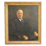 Antique Library Portrait Oil Painting of A Distinguished Gentleman