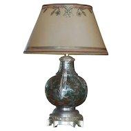 Very Unusual Enamel Inlaid Cloisonné Designer Lamp w Custom Shade - India?