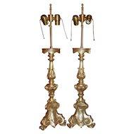 Pair of Thomas Morgan Designer White Gold Gilt-wood Altar Candlestick Lamps
