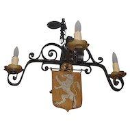 Antique Wrought Iron Gothic Chandelier w Lion Crest