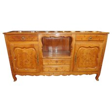 Antique French Provincial Buffet w Inlaid Star Decoration