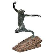 Large Art Deco Style Bronze Amazon Woman Athlete Sculpture