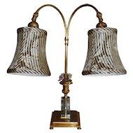 Antique Gilt Bronze  French Crystal & Enamel Flower Lamp