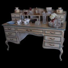 Fine Italian Designer Paint Decorated Writing Table Desk w French Blue Trim nr