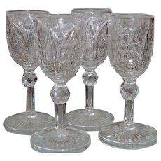 Set of 4 Spectacular American Brilliant Cut Glass Cordials