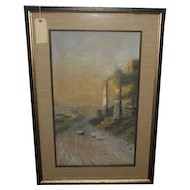 Large Antique Giovanni Battista Landscape Watercolor Painting