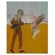 Huge Modern Art Expressionist Oil Painting by Michael Hafftka - Two Figures