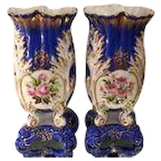 Antique Old Paris Porcelain Rococo Vases - A Pair