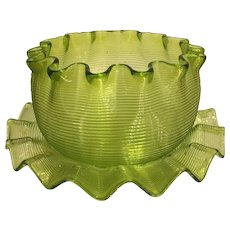 Rare Antique Venetian Threaded Glass Bowl & Plate - Chartreuse