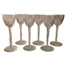 Set Of 6 of Antique cut Crystal Long Stem Cordial Stems
