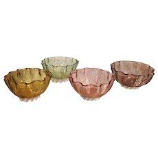 Set Of 4 Antique Venetian Threaded Glass Nut Bowls