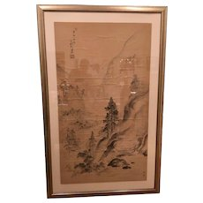 Original Antique Chinese Scroll Watercolor Painting of a Landscape