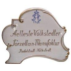 Antique aelteste volkstedter Advertising Porcelain Sign Plaque