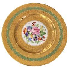 Antique Gold Encrusted Limoges French Porcelain Cabinet Plate - Floral Center