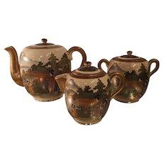 Antique Satsuma Kutani Japanese Pottery Tea Set