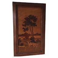 Antique Marquetry Inlaid Landscape Picture w Dog