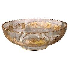 Antique Baccarat Gold Crystal Bowl w Fancy Rim & Floral Decoration
