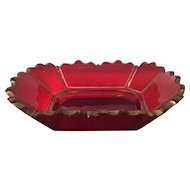 Unusual Antique Red & Gold Bohemian Glass Bowl w Scalloped Rim