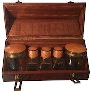 Antique German Cut Crystal & Orange Enamel Cologne Bottle Set