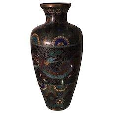 Unusual Antique Japanese Cloisonné Vase w Dragon Motif