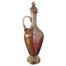 Rare Antique Moser Fancy Enamel & Gilt Crystal Bottle Decanter