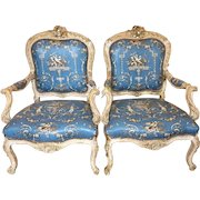 Pair of Antique 19th C Italian Baroque Arm Chairs w Dessin Fournir Blue Toile