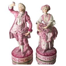 Pair of Unusual Antique KPM German Porcelain Figures