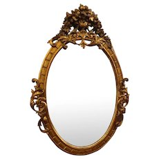 Antique 19C Baroque Gilt Wood Oval Mirror
