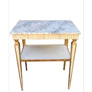 Vintage Hollywood Regency Style White Marble Top End Table