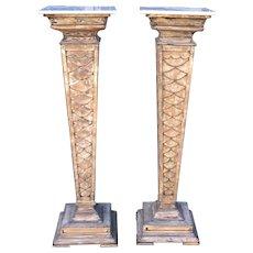 Pair of Antique Monumental Marble Top Pedestals