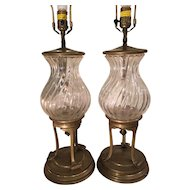Pair of Vintage Chapman French & Crystal Bronze Lamps