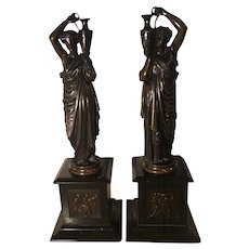 Pair of Antique French Bronze Sculptures of Maidens